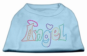 Technicolor Angel Rhinestone Pet Shirt Baby Blue Med
