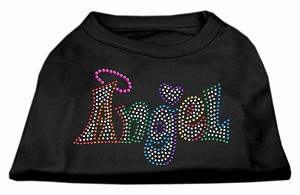 Technicolor Angel Rhinestone Pet Shirt Black Med (12)