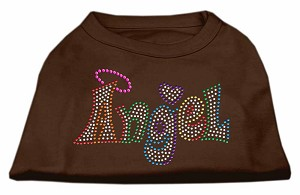 Technicolor Angel Rhinestone Pet Shirt Brown Sm (10)