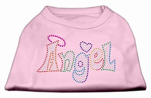 Technicolor Angel Rhinestone Pet Shirt Light Pink XXXL