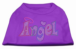 Technicolor Angel Rhinestone Pet Shirt Purple Med (12)