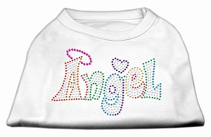 Technicolor Angel Rhinestone Pet Shirt White Med