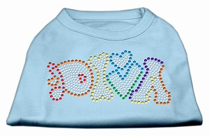 Technicolor Diva Rhinestone Pet Shirt Baby Blue XXL