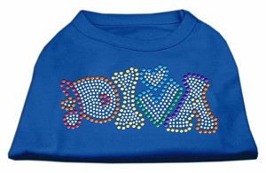 Technicolor Diva Rhinestone Pet Shirt Blue XS (8)