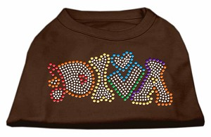 Technicolor Diva Rhinestone Pet Shirt Brown Med