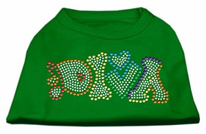 Technicolor Diva Rhinestone Pet Shirt Emerald Green XXXL (20)