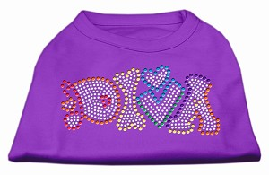 Technicolor Diva Rhinestone Pet Shirt Purple XXXL