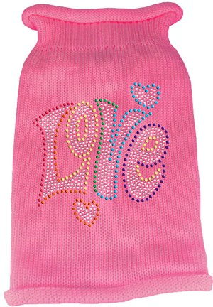 Technicolor Love Rhinestone Knit Pet Sweater Light Pink Lg