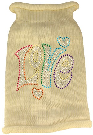 Technicolor Love Rhinestone Knit Pet Sweater Cream XS