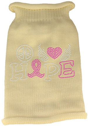 Peace Love Hope Rhinestone Knit Pet Sweater Cream XL (16)