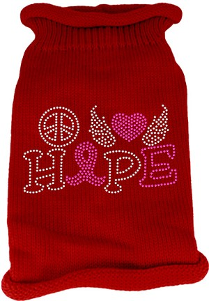 Peace Love Hope Rhinestone Knit Pet Sweater Red XL