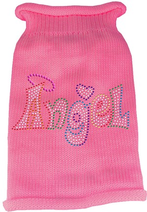 Technicolor Angel Rhinestone Knit Pet Sweater Light Pink Sm (10)