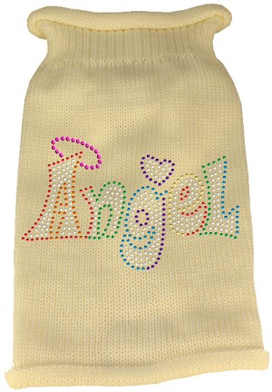 Technicolor Angel Rhinestone Knit Pet Sweater Cream XXL