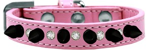 Crystal and Black Spikes Dog Collar Light Pink Size 14