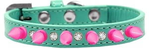 Crystal and Bright Pink Spikes Dog Collar Aqua Size 16