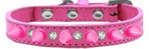 Crystal and Bright Pink Spikes Dog Collar Bright Pink Size 16