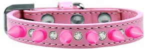 Crystal and Bright Pink Spikes Dog Collar Light Pink Size 10