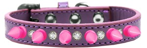 Crystal and Bright Pink Spikes Dog Collar Lavender Size 14