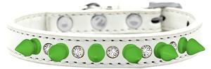 Crystal and Neon Green Spikes Dog Collar White Size 14