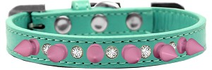 Crystal and Light Pink Spikes Dog Collar Aqua Size 16