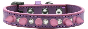 Crystal and Light Pink Spikes Dog Collar Lavender Size 14