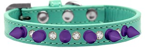 Crystal and Purple Spikes Dog Collar Aqua Size 12