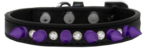 Crystal and Purple Spikes Dog Collar Black Size 14