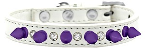 Crystal and Purple Spikes Dog Collar White Size 16