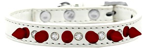 Crystal and Red Spikes Dog Collar White Size 14