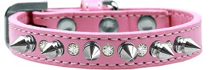 Crystal and Silver Spikes Dog Collar Light Pink Size 10