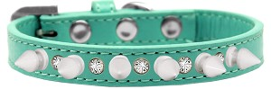 Crystal and White Spikes Dog Collar Aqua Size 16