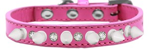 Crystal and White Spikes Dog Collar Bright Pink Size 16