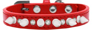 Crystal and White Spikes Dog Collar Red Size 10