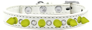 Crystal and Neon Yellow Spikes Dog Collar White Size 16