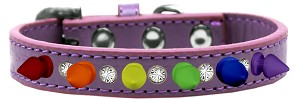 Crystal with Rainbow Spikes Dog Collar Lavender Size 14