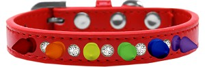 Crystal with Rainbow Spikes Dog Collar Red Size 16