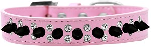 Double Crystal and Black Spikes Dog Collar Light Pink Size 14