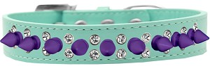 Double Crystal and Purple Spikes Dog Collar Aqua Size 18