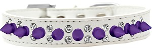 Double Crystal and Purple Spikes Dog Collar White Size 16