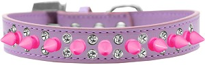 Double Crystal and Bright Pink Spikes Dog Collar Lavender Size 20