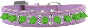 Double Crystal and Neon Green Spikes Dog Collar Lavender Size 16