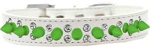 Double Crystal and Neon Green Spikes Dog Collar White Size 14