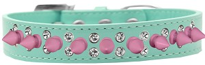 Double Crystal and Light Pink Spikes Dog Collar Aqua Size 16