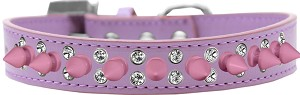 Double Crystal and Light Pink Spikes Dog Collar Lavender Size 20