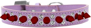 Double Crystal and Red Spikes Dog Collar Lavender Size 16