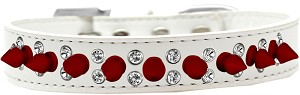 Double Crystal and Red Spikes Dog Collar White Size 20
