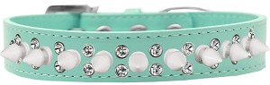Double Crystal and White Spikes Dog Collar Aqua Size 14