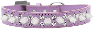 Double Crystal and White Spikes Dog Collar Lavender Size 12