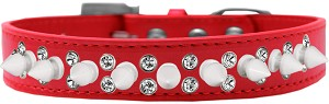 Double Crystal and White Spikes Dog Collar Red Size 12
