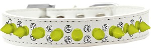 Double Crystal and Neon Yellow Spikes Dog Collar White Size 14